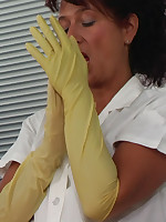 Rubber gloves enema