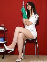 Sexy brunette nurse loves to tease